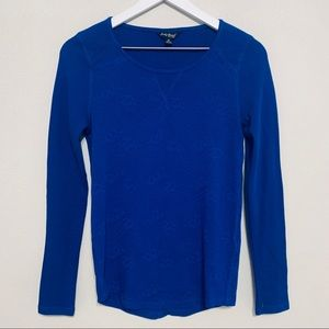 {Lucky Brand} Blue Patterned Thermal Top